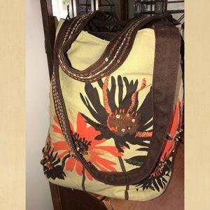 Floral canvas tote with sequence and beads